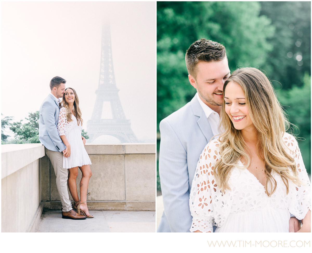 Paris Photographer - Anna and Jonathan in Love in front of the Eiffel Tower during their Paris engagement photo session