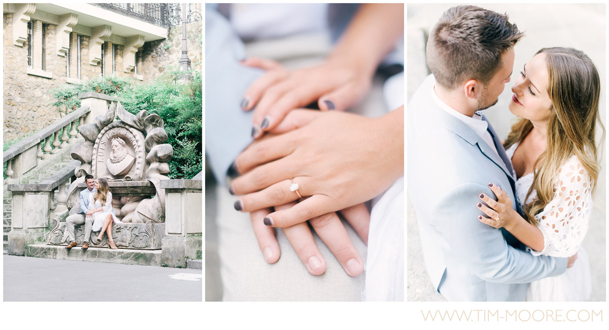 Paris Photographer - engagement ring in Paris - Anna and Jonathan in Love in France during their photo session
