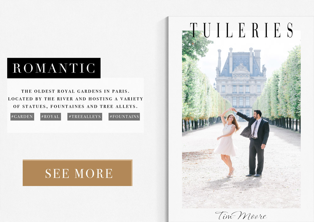 Paris Photographer Tim Moore advises the Tulieries Garden as a Romantic Location for a photoshoot in Paris.