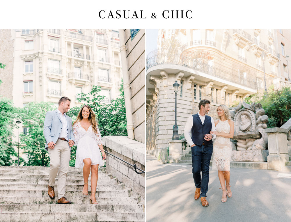 Paris Photographer Tim Moore sharing a couple of examples of Casual and Chic outfit to wear for a perfect photo session in Paris