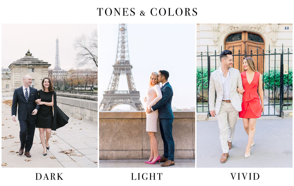 Paris Photographer - Different outfit colors and tones can be chosen to create the perfect photoshoot matching your personality.