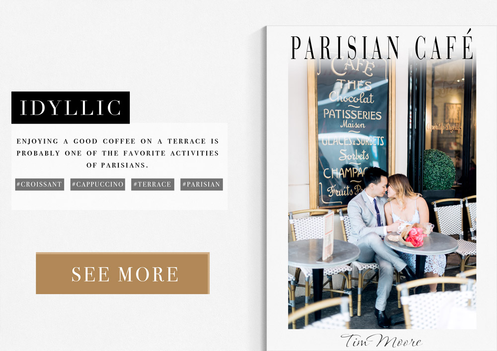 Paris Photographer Tim Moore recommends a Parisian Café as an Idyllic location for a photoshoot in Paris.
