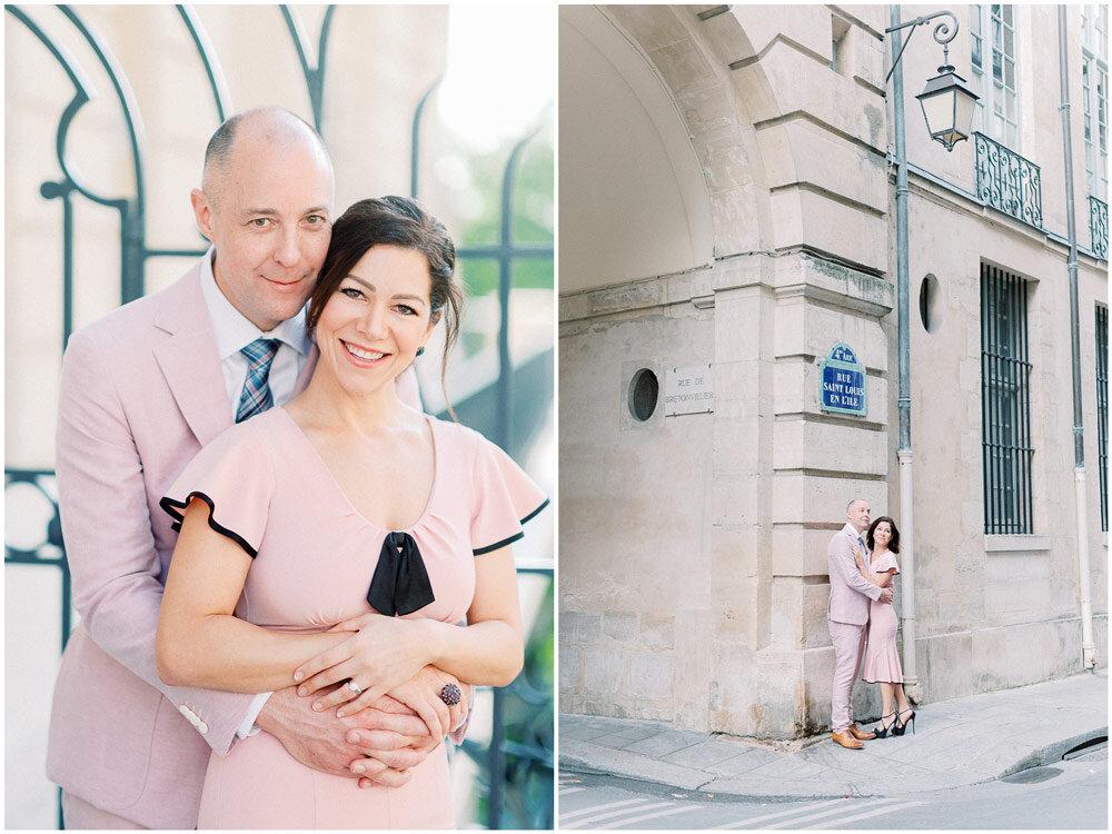 Paris Photographer - couple in pink during their Paris photo shoot