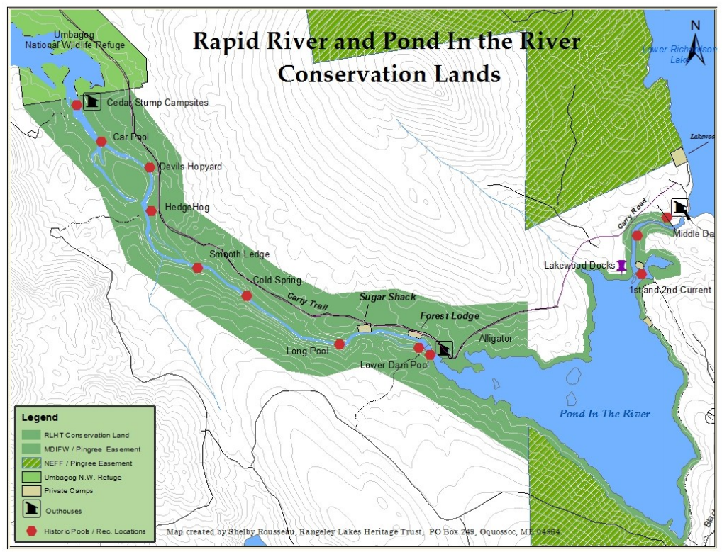 Map created by Shelby Rousseau of Rangeley Lakes Heritage Trust
