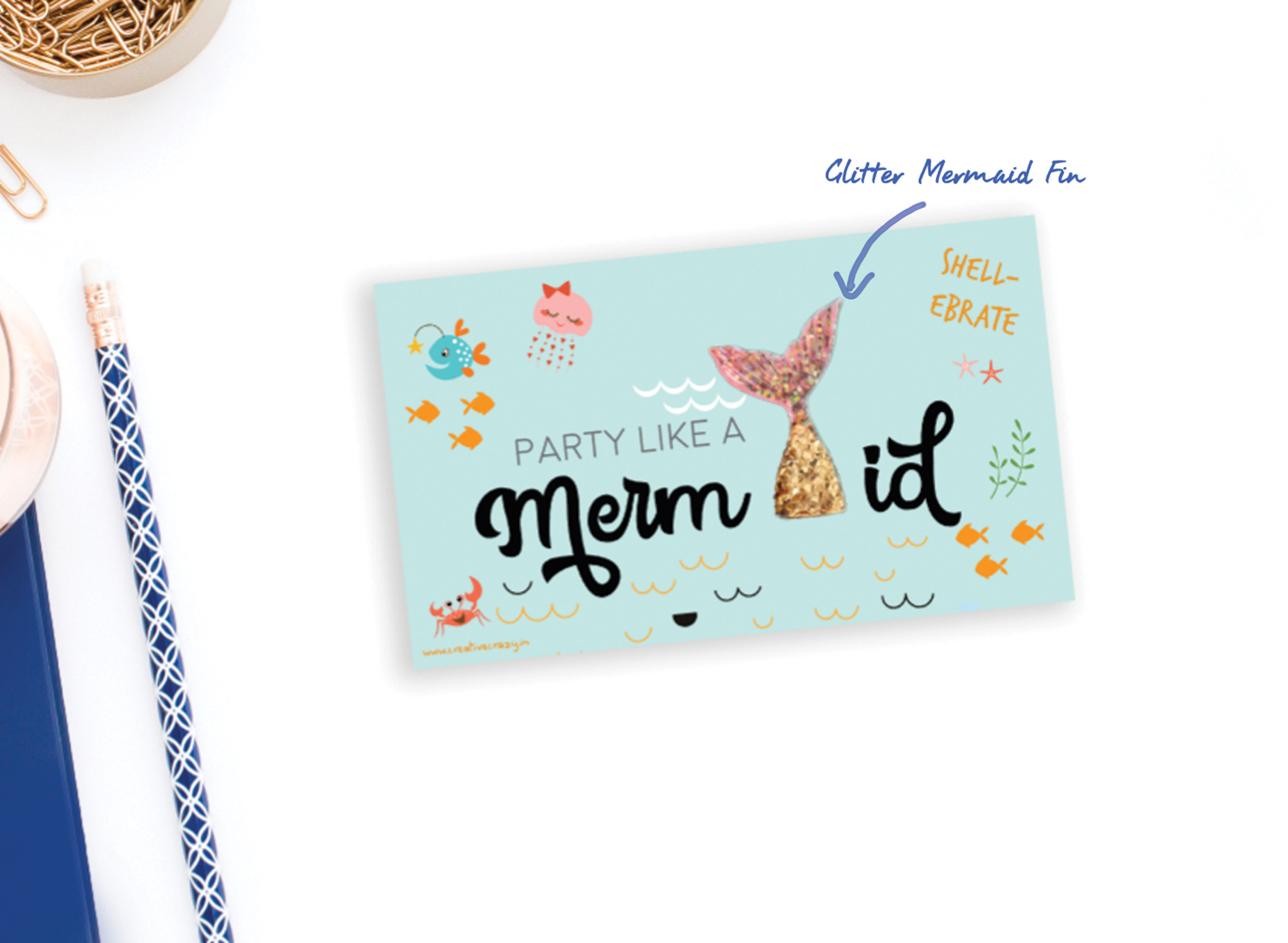 "Mermaid POP UP CARDS  Set of: 6 cards.  280 GSM TEXTURED PAPER  Size: 4"" (w) x 5.5""(h) Flat cards - blank at the back   ₹ 450/-    BUY NOW"