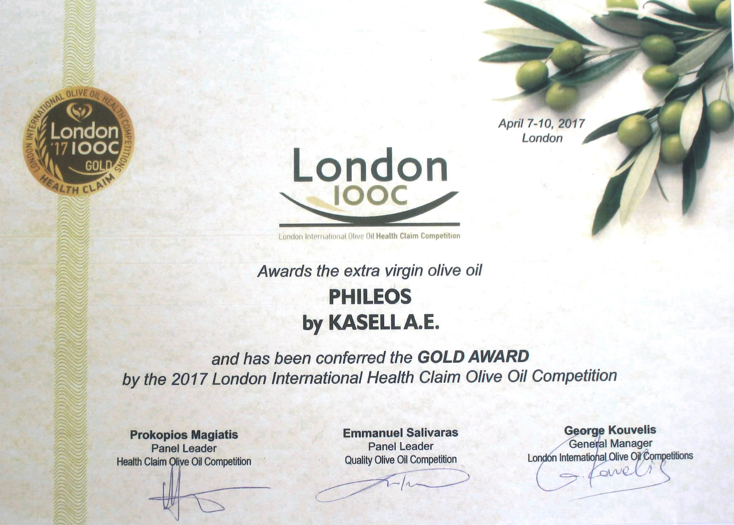 London International Olive Oil Competition   Gold Award from Health Claim   Olea of Monemvasia