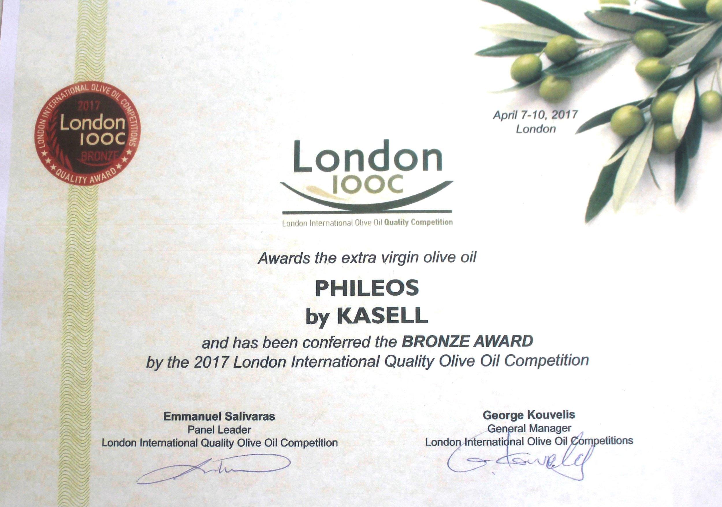 London International Olive Oil Competition   Bronze Award for quality   Olea of Monemvasia   award winning olive oil