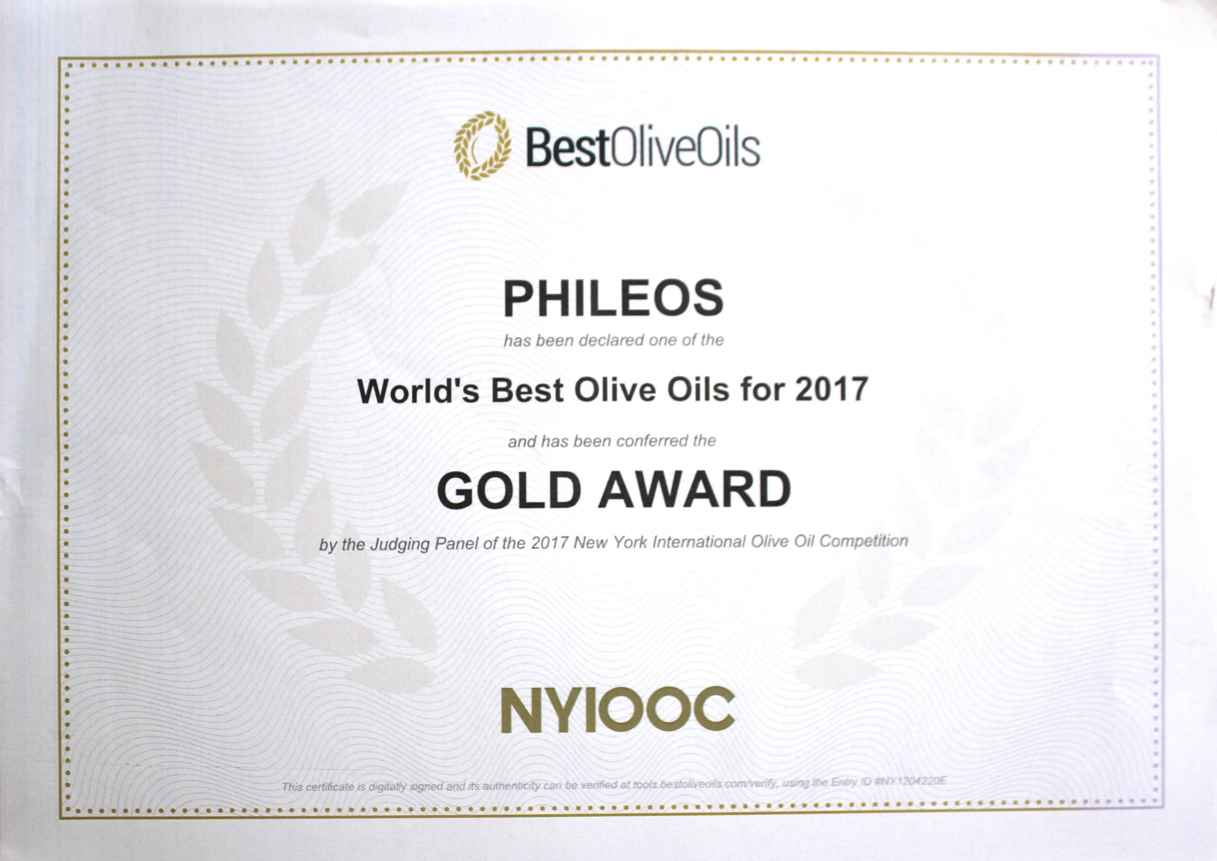 New York International Olive Oil Competition   Gold metal   Award winning olive oil   Olea of Monemvasia