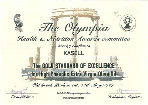 The Olympia Health & Nutrition Awards   Gold standard of excellence for high phenolic extra virgin olive oil   Olea of Monemvasia