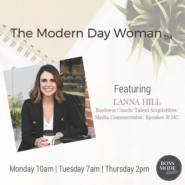 MODERN DAY WOMAN // I'm so excited to listen to my interview with the gorgeous Jen McMahon on 'The Modern Day Woman Show' @themoderndaywoman_ on air from tomorrow - Monday 10am, Tuesday 7am and Thursday 2pm. We had a very honest chat about the upsides and downsides of business and being so driven... it's definitely something I'm thinking about a lot lately. You can LISTEN LIVE through searching 'Boss Mode Radio' in any digital radio app or go to: www.bossmoderadio.com.au or @bossmoderadio and follow the prompts x #bossmoderadio