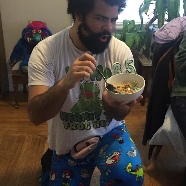 It's my birthday today! In true Movie Babies fashion I had a PJs and Cereal party! I also get to guilt trip you into subscribing to our podcast if you haven't already or leaving us a review on iTunes! This MuBae is all grown up. #podcast #cereal