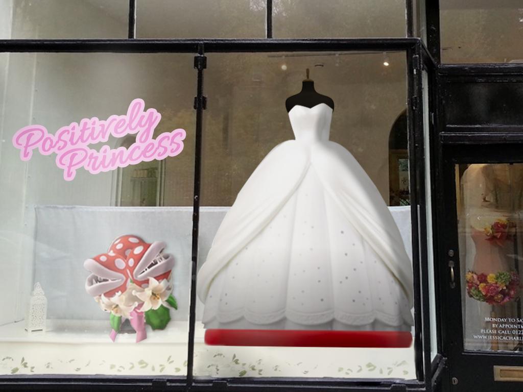 PRINCESS PEACH'S WEDDING DRESS ON DISPLAY IN A BRIDAL SHOP