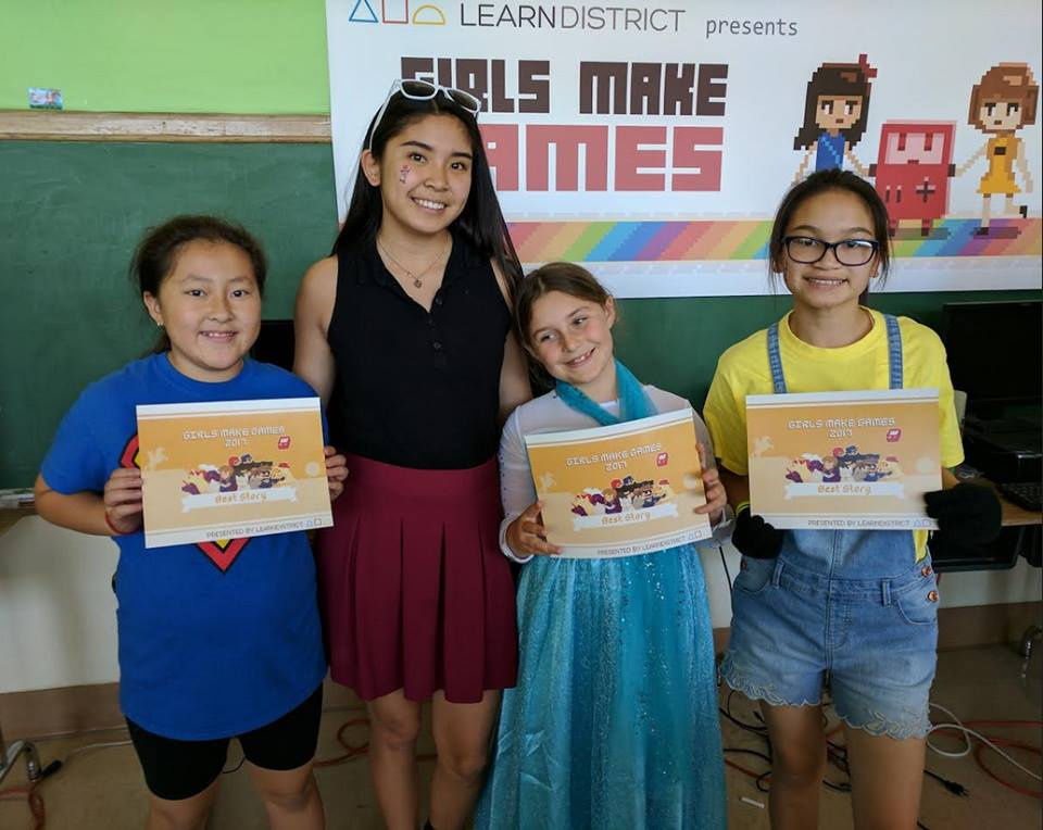 Melanie J. Pascual with some of her Girls Make Games students