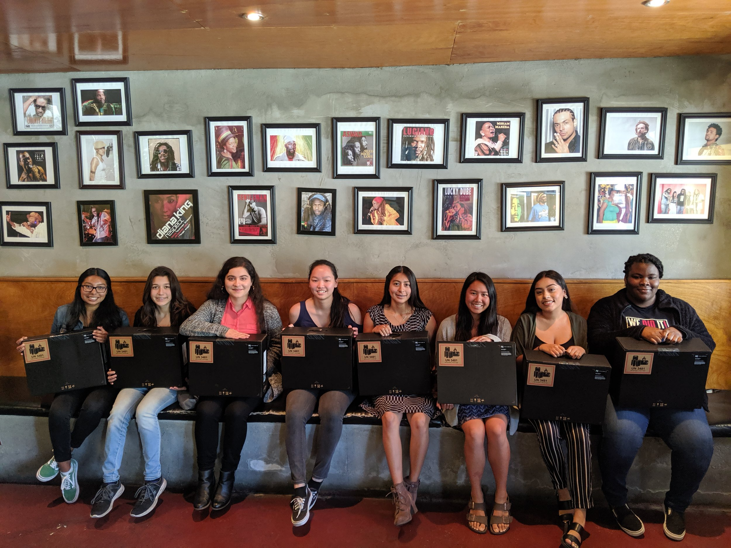 2019's Fluegelman Bunnell fellows pose with their HP laptops at the award luncheon on June 29, 2019