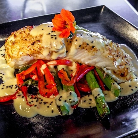 Fresh Alaskan Halibut with Passionfruit Coconut Cream Sauce |  Pic cred:  Bambu