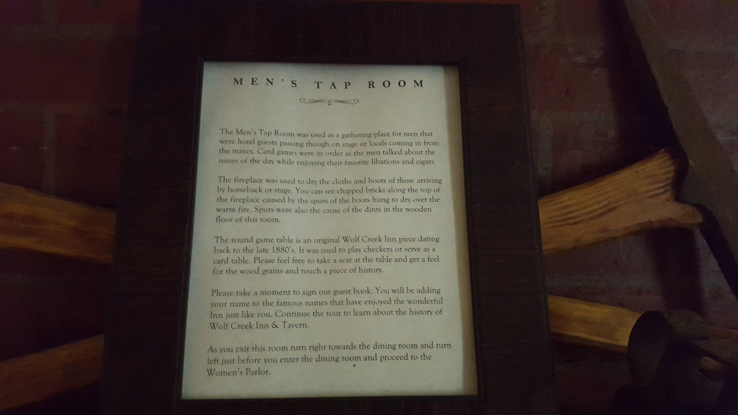 Men's tap room at the Wolf Creek Inn