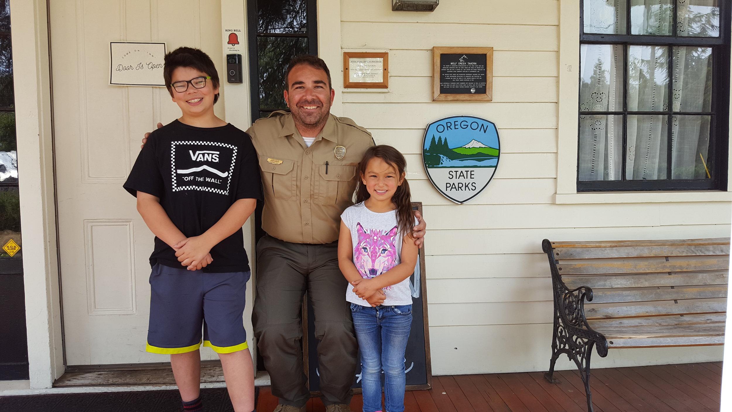 Ilias and Olivia with Oregon State Park ranger Tony Silva