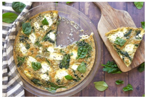 From PerfectKeto.com: Spinach, Goat Cheese & Mushroom Quiche