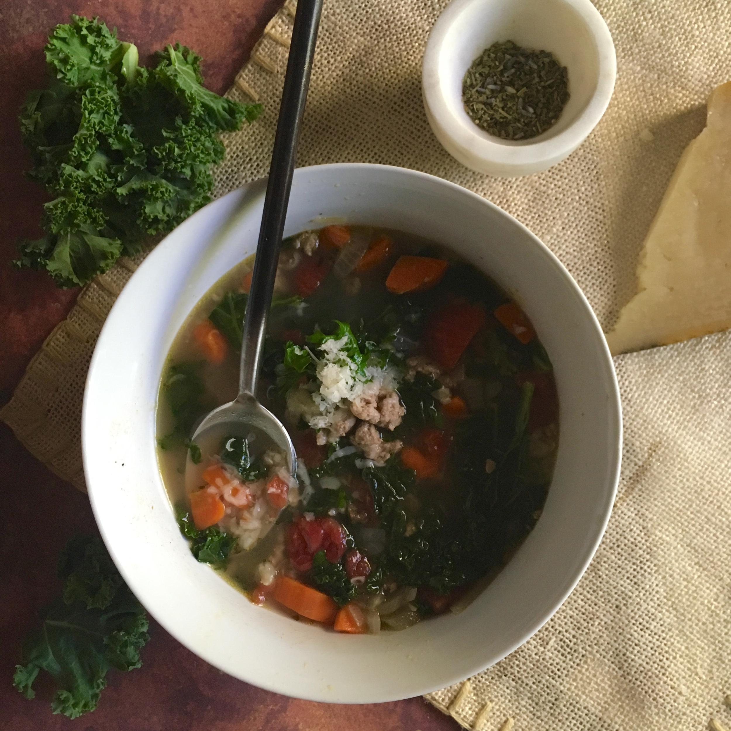 Kale & Ground Turkey Soup