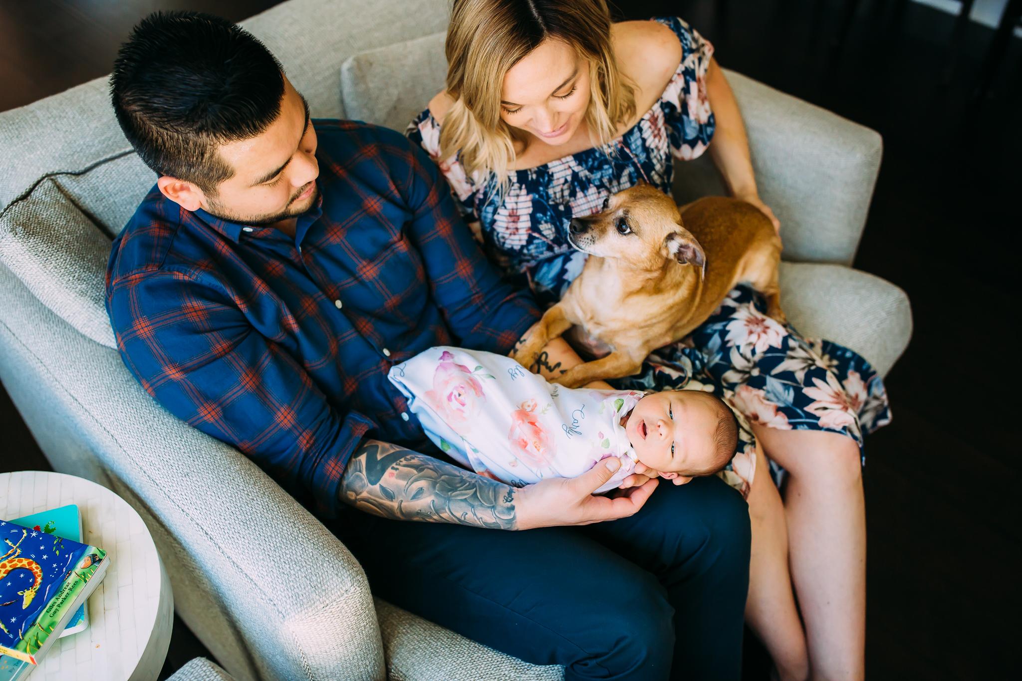 lifestyle newborn photo session in Orange County, CA