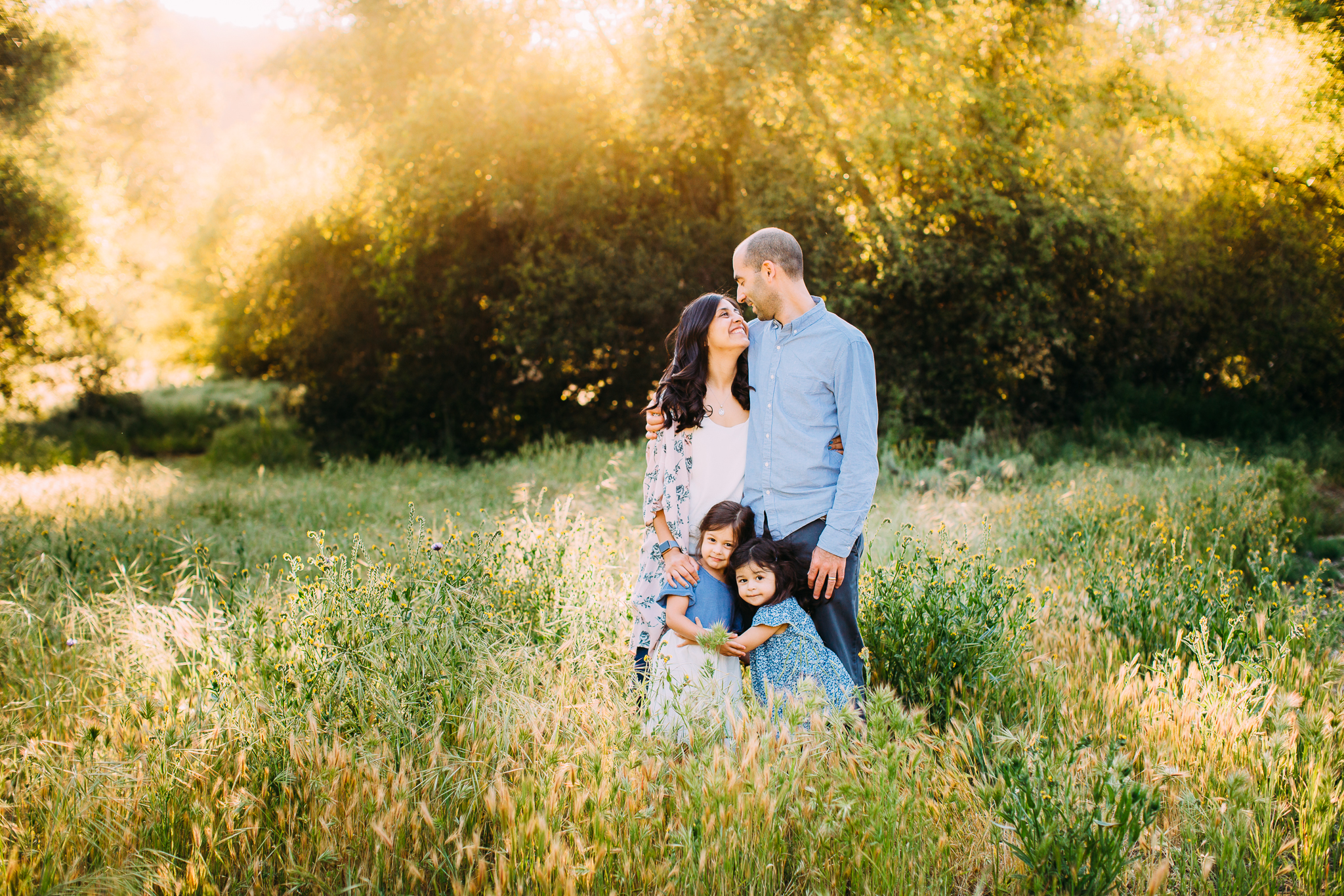 family photos in a field in Orange County, CA