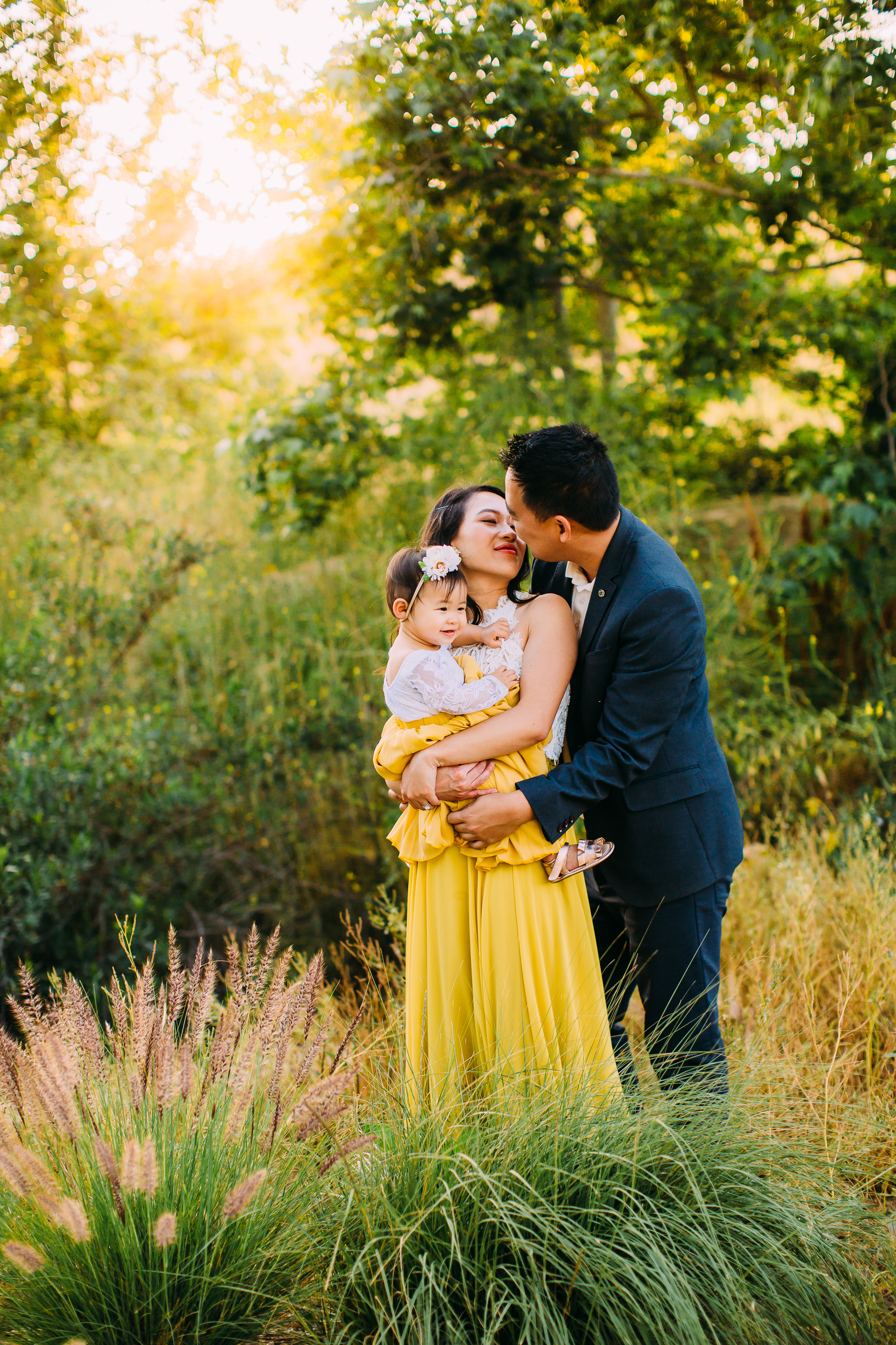 rustic field and trees family photo session in Irvine, CA