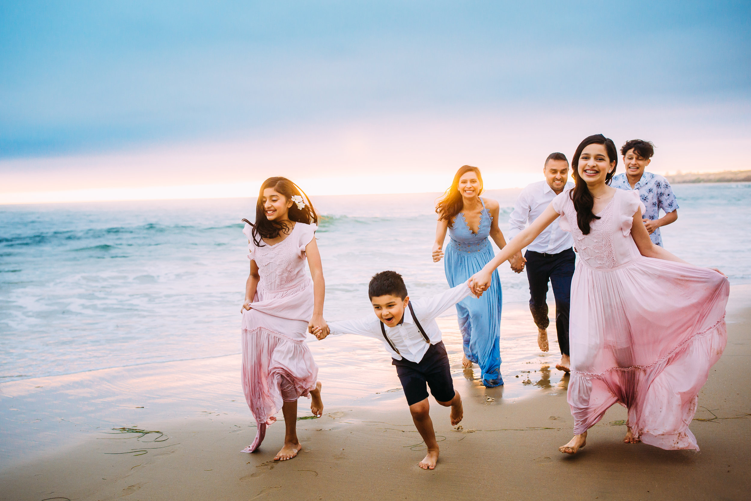 colorful family photo session in Newport Beach, Orange County, CA