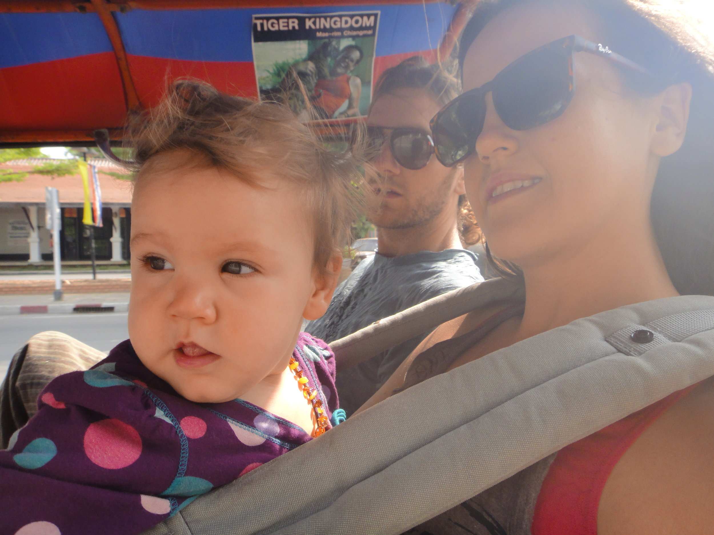 Baby Astraea enjoying the rush of a Tuk Tuk ride in Thailand