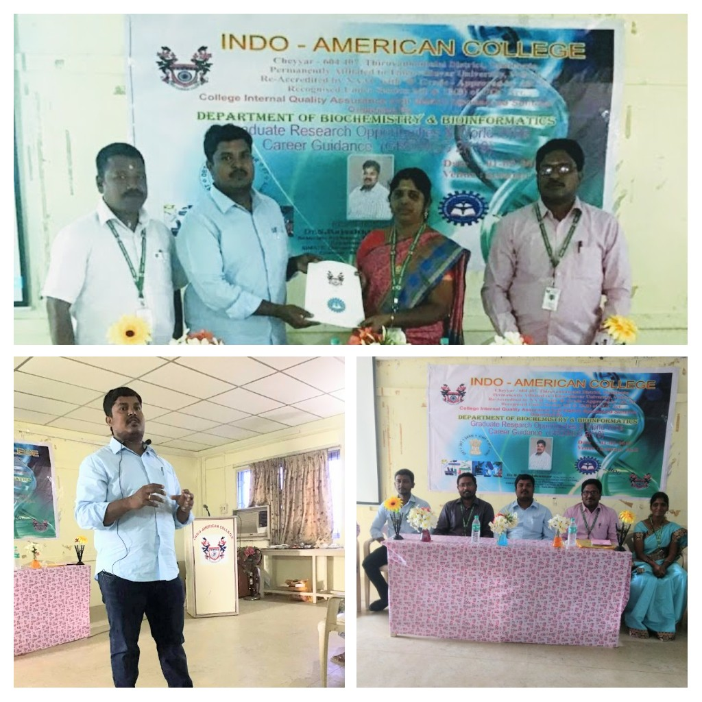 - Chief Guest and Resource PersonDelivered guest Lecture on Graduate Research Opportunities and World Wide Carrier Research Guidance (GROWWCG 2K19) organized by Indo American College, Cheyyar, Thiruvannamalai District, India on 1st February 2019.