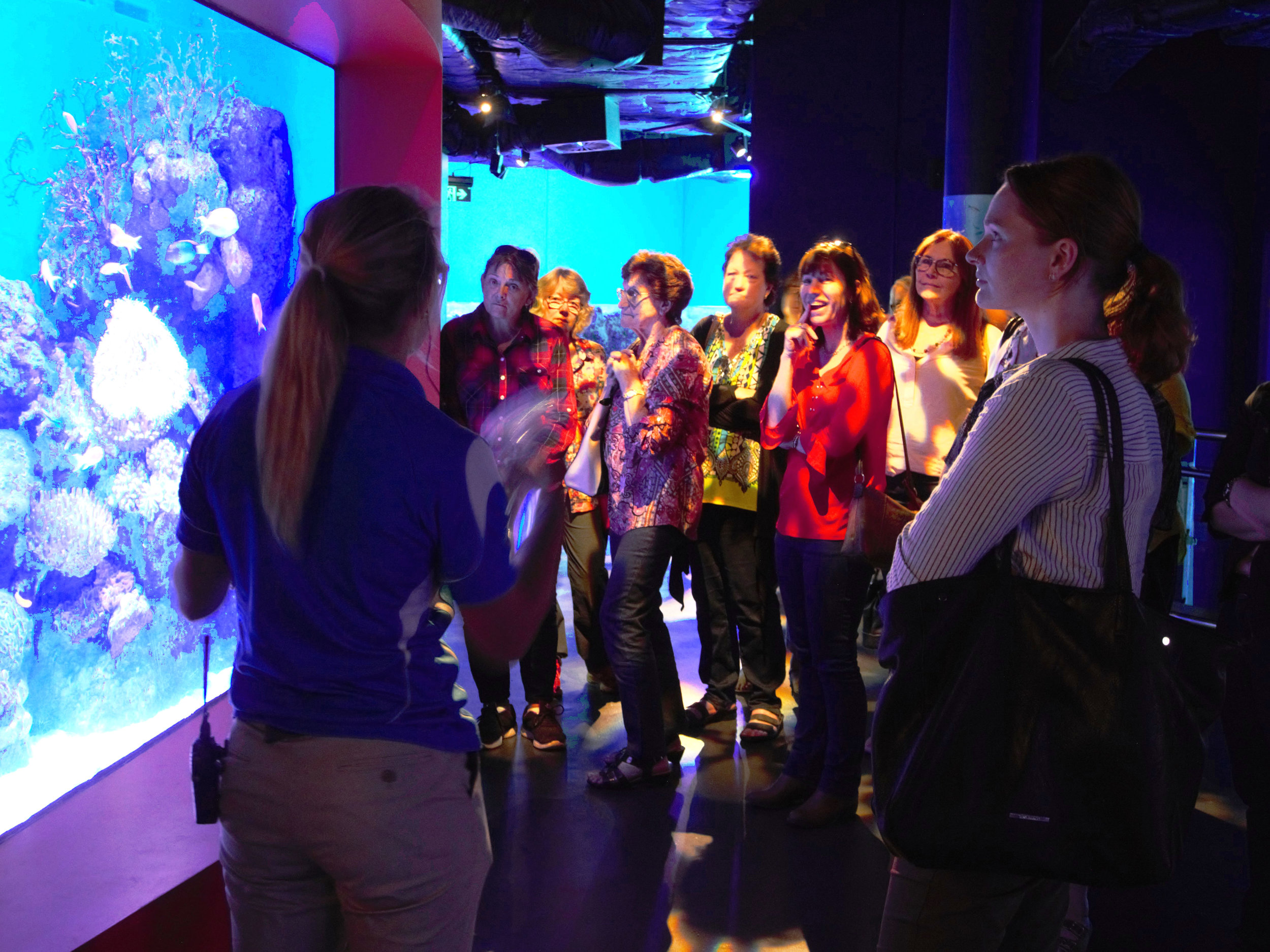 Attendees of the Women's Field Day receiving a guided tour of the Cairns Aquarium to learn more about water quality and local ecosystems.