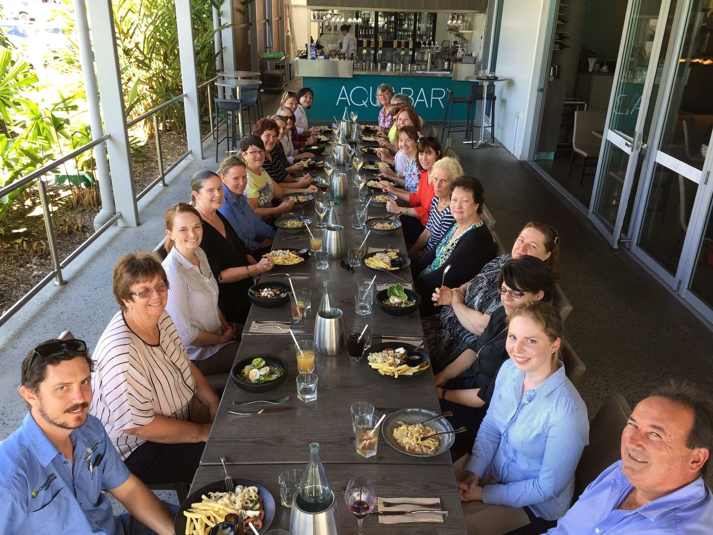 Attendees during lunch at the Cairns Aquarium's Aqualuna Restaurant