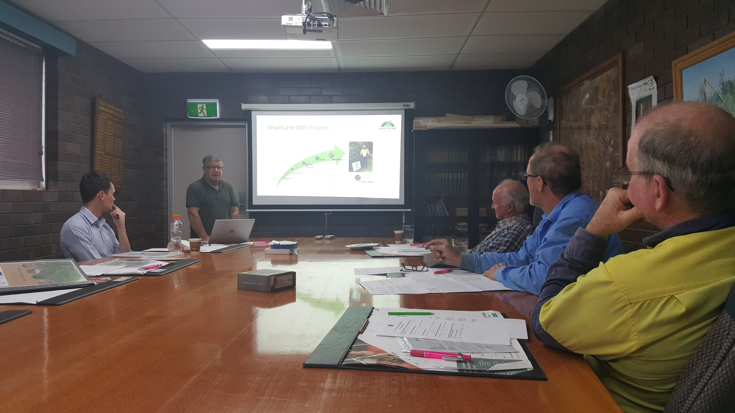 Tully Smartcane BMP Facilitator, Nick Stipis, explaining the process growers go through to reach accreditation in the program.