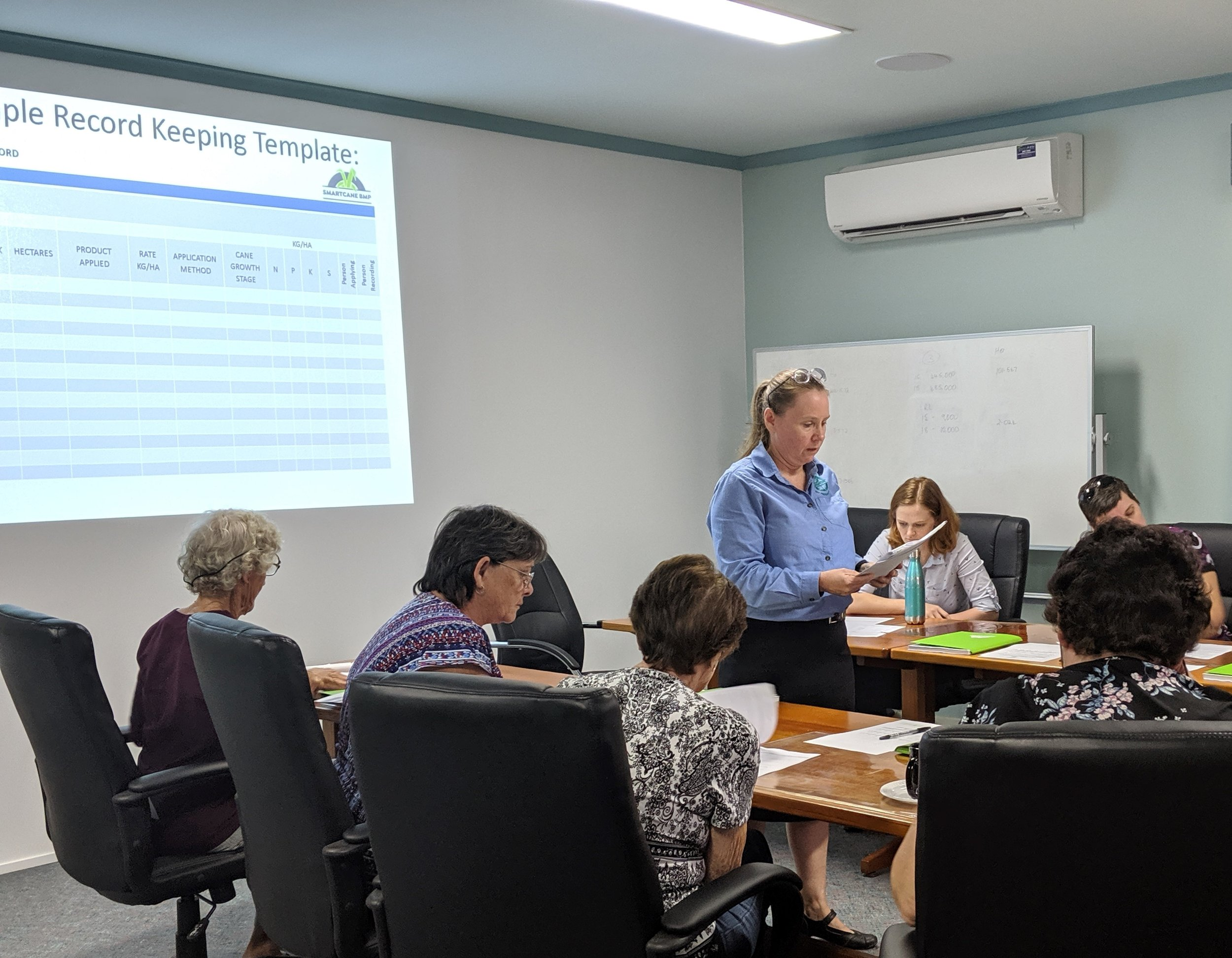 Cairns Region Smartcane BMP Facilitator, Kasey Shaw, working through an example record-keeping template.