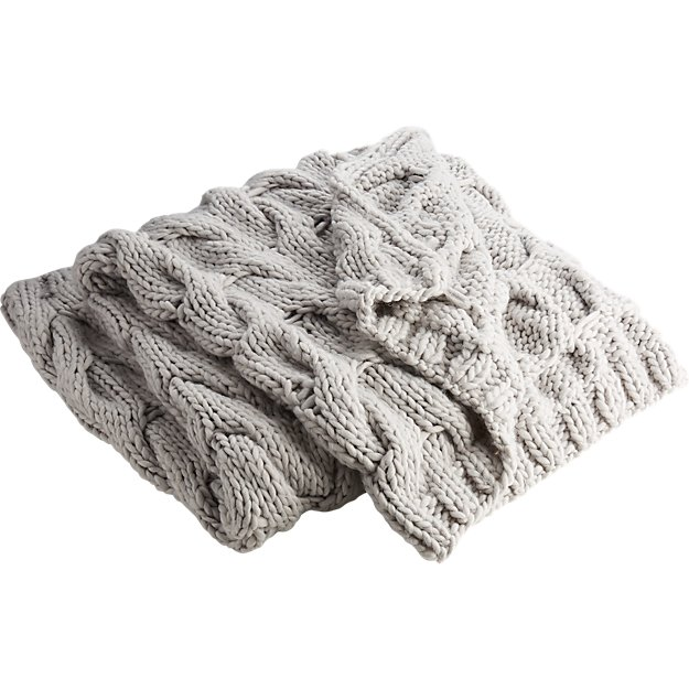 Chunky Light Grey Cable Knit Throw