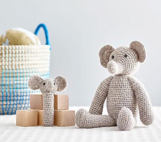 Elephant Knit Plush & Rattle