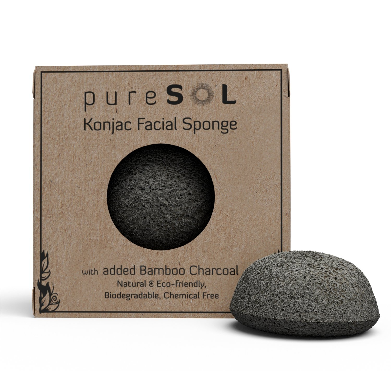 Konjac Facial Sponge - Activated Bamboo Charcoal