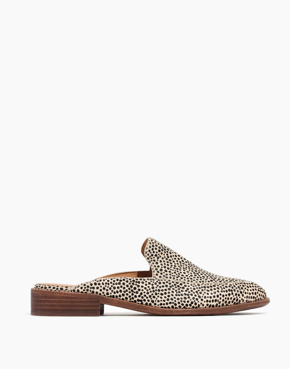 The Frances Loafer Mule Spotted Calf Hair