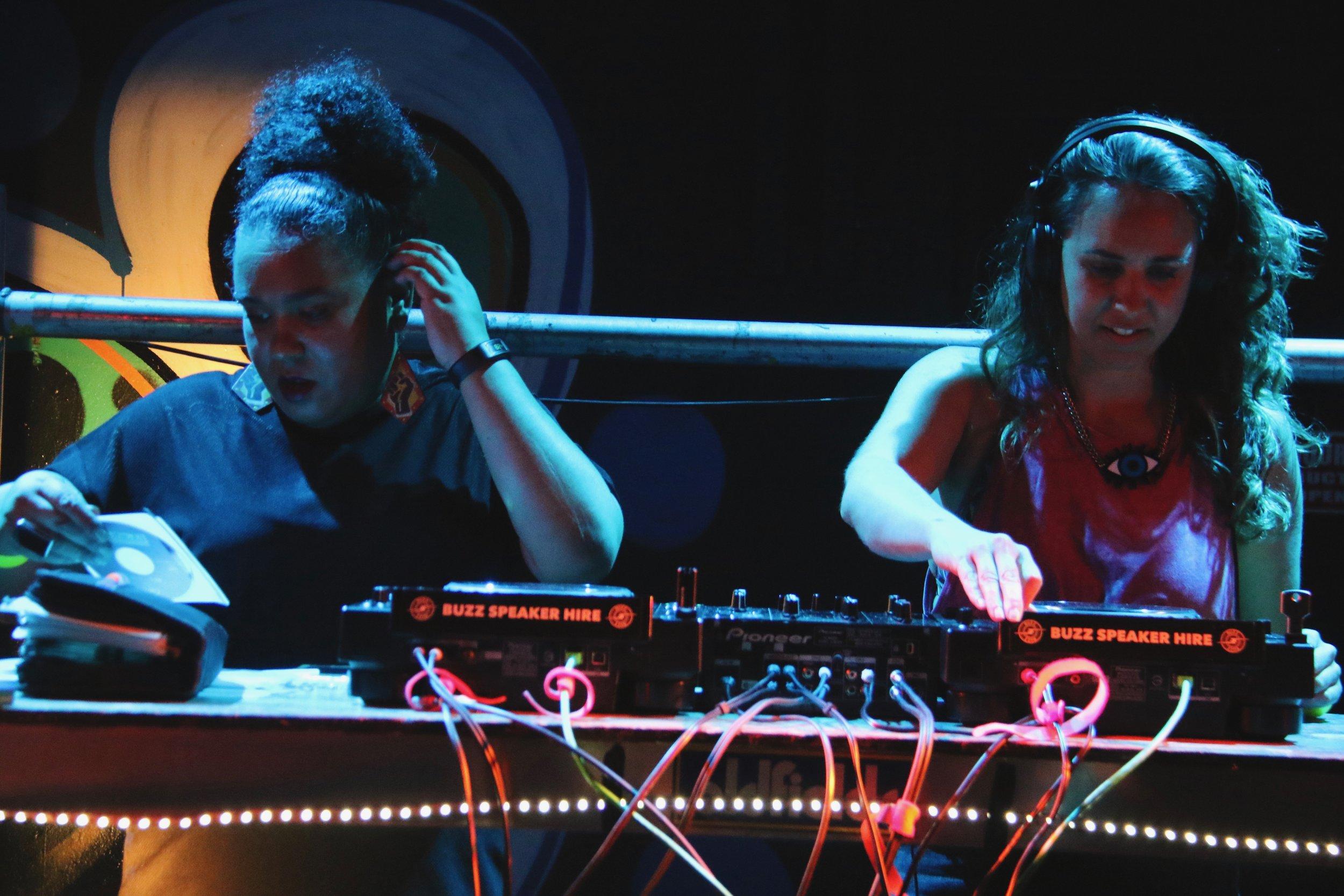 DJ Emily Nicol and DJ Renee Williamson performing at PACT Salon: BAD. Photo by Carla Zimbler