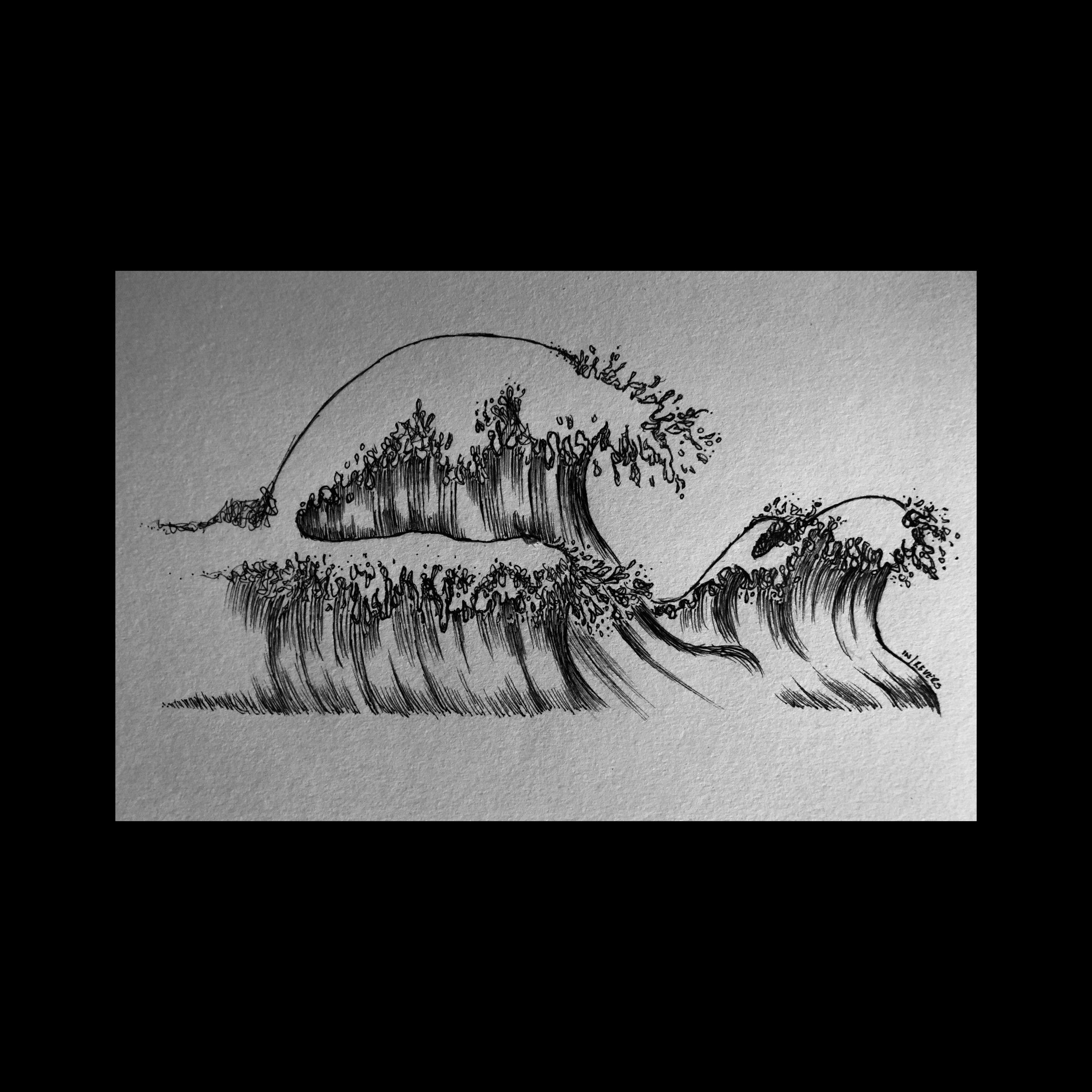 waves. pen & ink