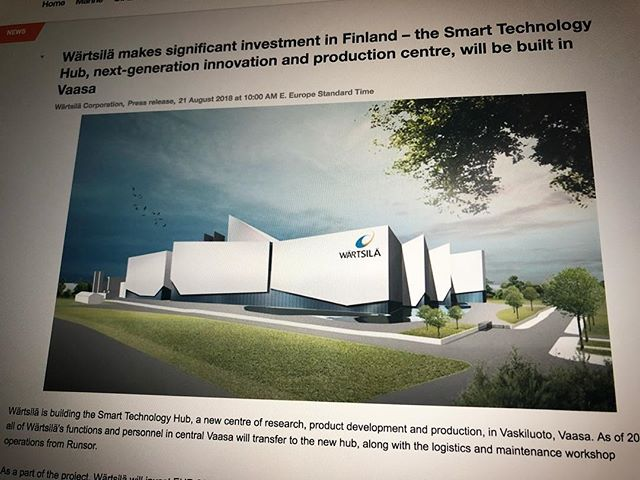 Wärtsilä, a marine and energy technology company, will build a massive R&D and production facility, the Smart Technology Hub, in Vaasa. 👍