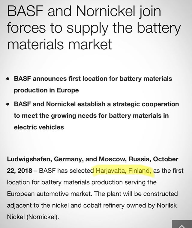 Great news for the Finnish Battery Industry: BASF has selected Harjavalta, Finland, as the first location for battery materials production serving the European automotive market! 🙌 Like Vaasa, Harjavalta is located on the west coast of Finland.