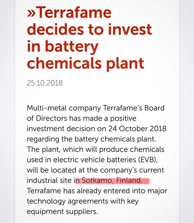 Great news again. Terrafame will build a battery chemical plant in Sotkamo. Their planned production technology enables low carbon footprint of nickel and cobalt sulphates needed for electric vehicle batteries. 👍