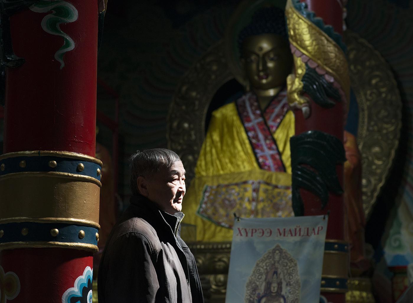 Shaariibuu Setev at a Buddhist temple in Ulaanbaatar where he weekly visits to pray for Altantuya's spirit.