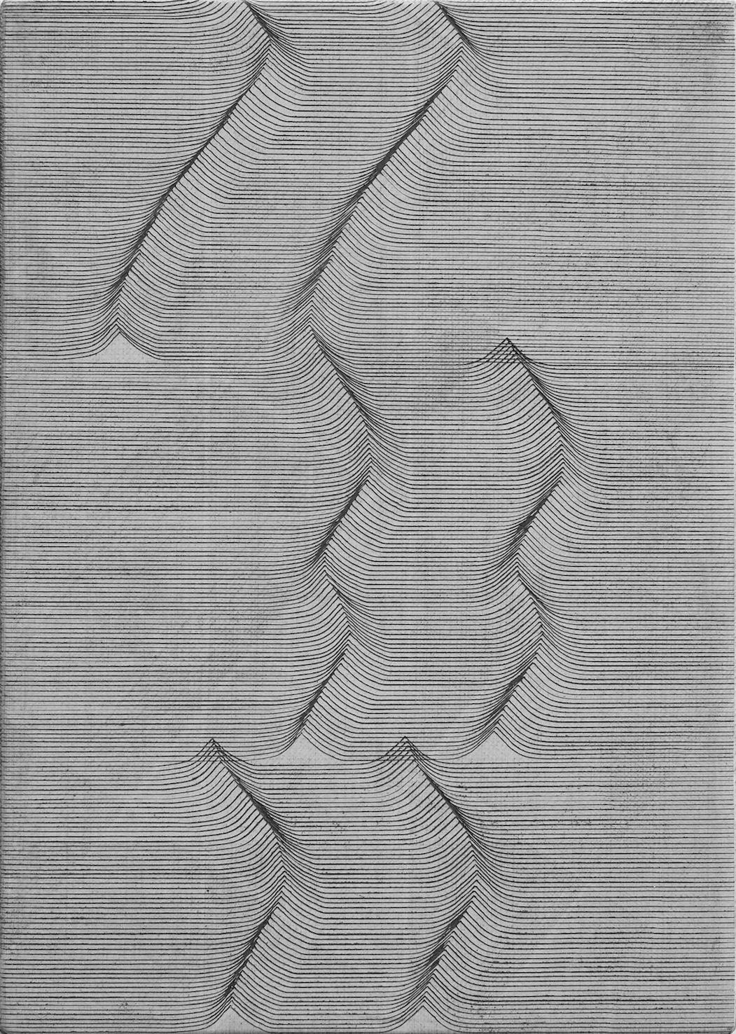 Long Ending (White)   Casein Paint and Scratches on Gesso Panel  30 x 21.5 x 2.5 cm