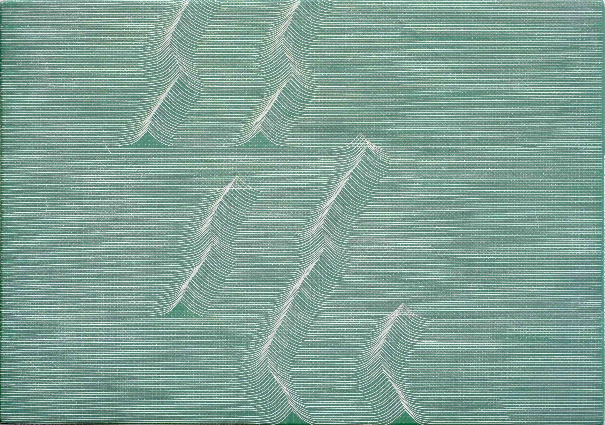 Long Ending (Green)   Casein paint and scratches on gesso panel  21.5 x 30 x 2.5 cm