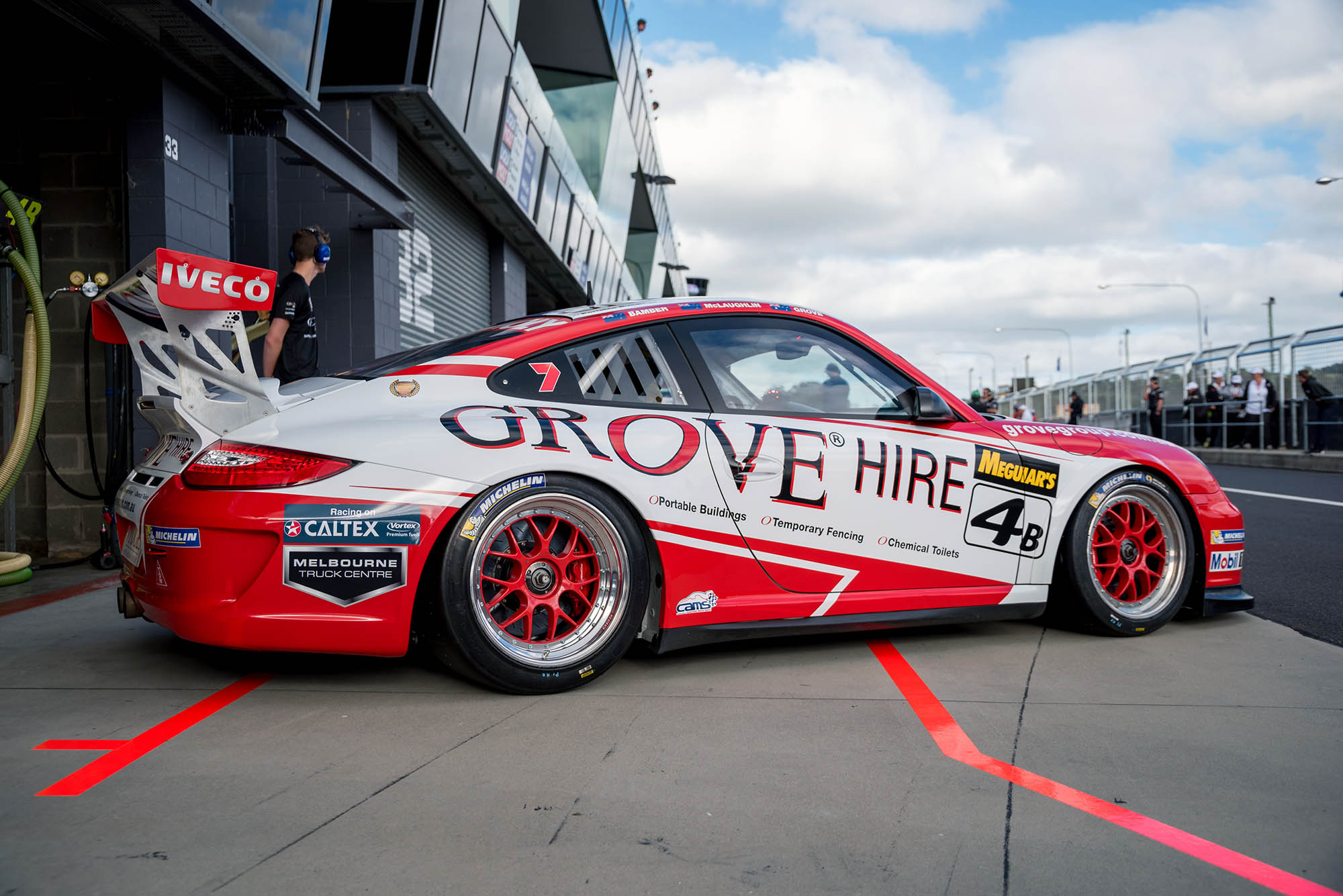 The Grove Racing Porsche is seen at the Mount Panorama circuit in Bathurst