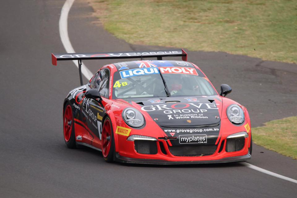 The Grove Racing Porsche is seen competing at the 2017 Liqui Moly Bathurst 12 HR