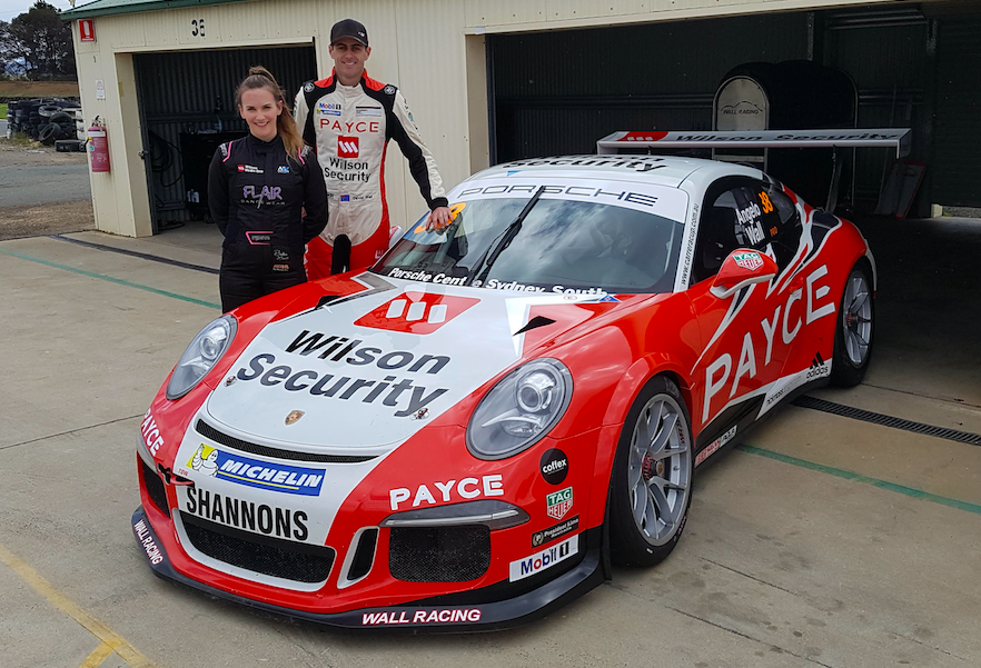 Chelsea Angelo and David Wall next to the Porsche Chelsea will race in GT3 Cup Challenge this year.