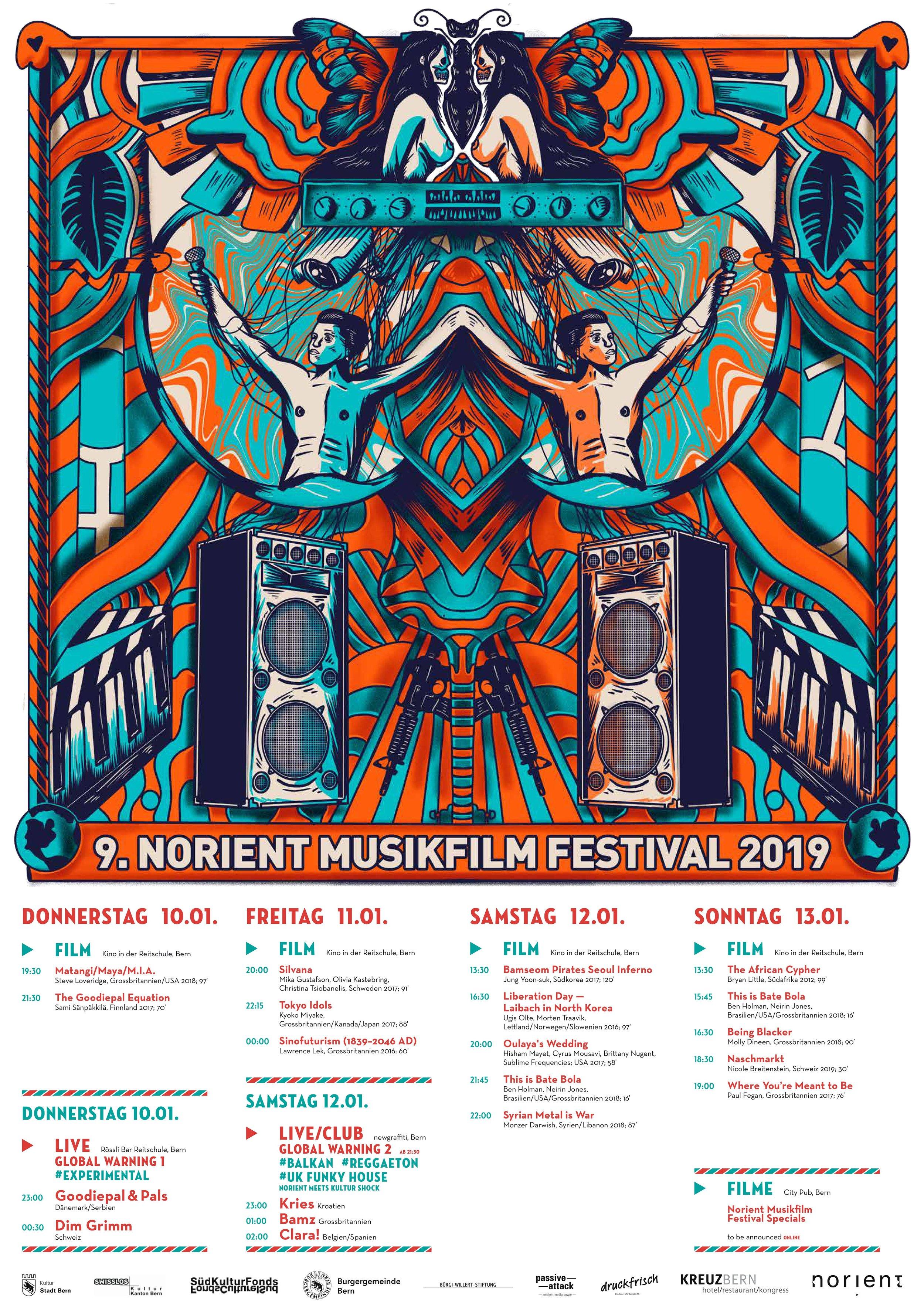 Download festival poster 2019 Art Design: Guillermo González Bravo (Mexico) & Annegreth Schärli (Switzerland)