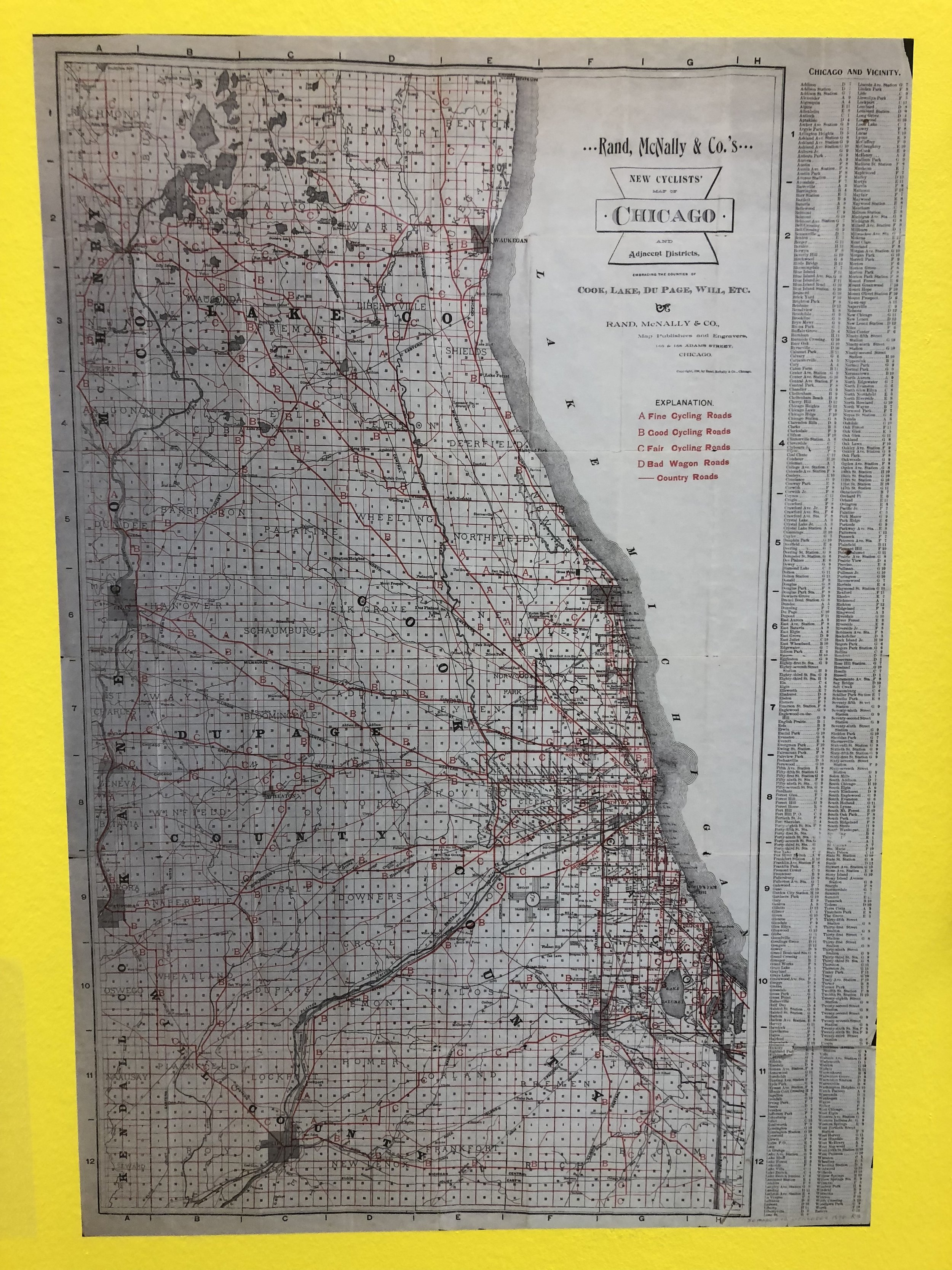 Rand McNally's cycling map of Chicago could be considered one of the very first spot maps.